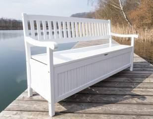 gartenbank truhenbank fsc akazie weiss lackiert 4 sitzig ebay. Black Bedroom Furniture Sets. Home Design Ideas