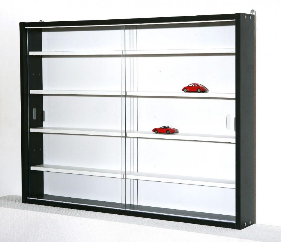 regal sammlervitrine setzkasten collecty schwarz mit weisser r ckwand ebay. Black Bedroom Furniture Sets. Home Design Ideas