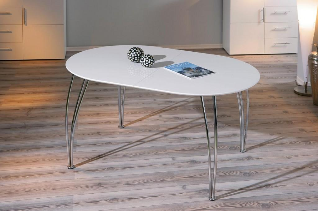 tisch esstisch ovali platte weiss ausziehbar f e chrome. Black Bedroom Furniture Sets. Home Design Ideas