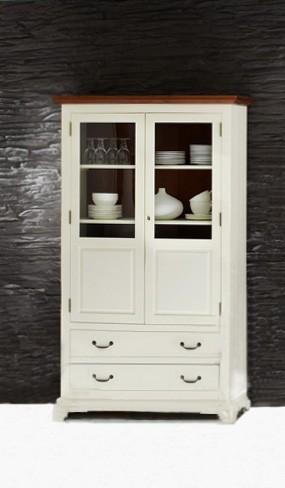 vitrine siena akazie weiss antik geschirrschrank. Black Bedroom Furniture Sets. Home Design Ideas