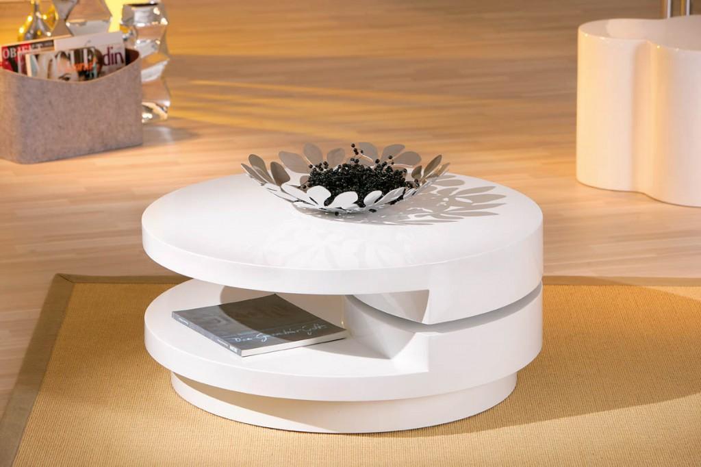couchtisch rotondi hochglanz weiss drehbar rund d 80 cm. Black Bedroom Furniture Sets. Home Design Ideas