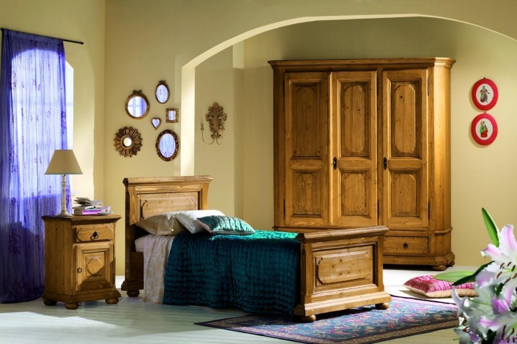 Schlafzimmer tegernsee komplett mit einzelbett fichte massiv altholz - Komplett schlafzimmer massiv ...