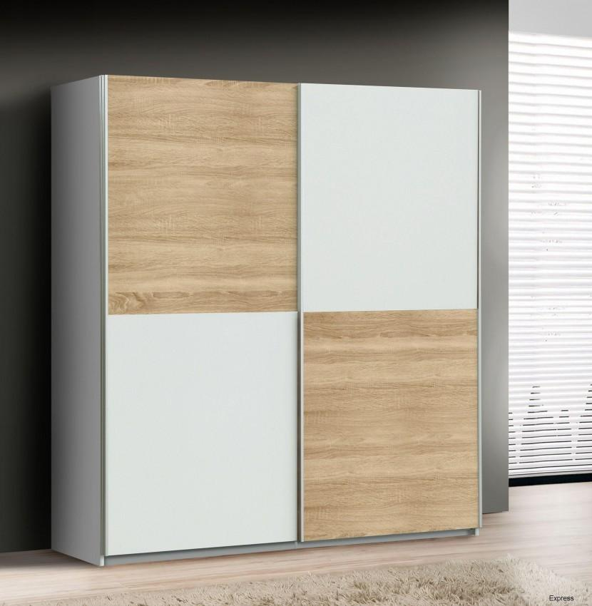 kleiderschrank quadro mit schwebet ren sonoma eiche weiss kombiniert ebay. Black Bedroom Furniture Sets. Home Design Ideas