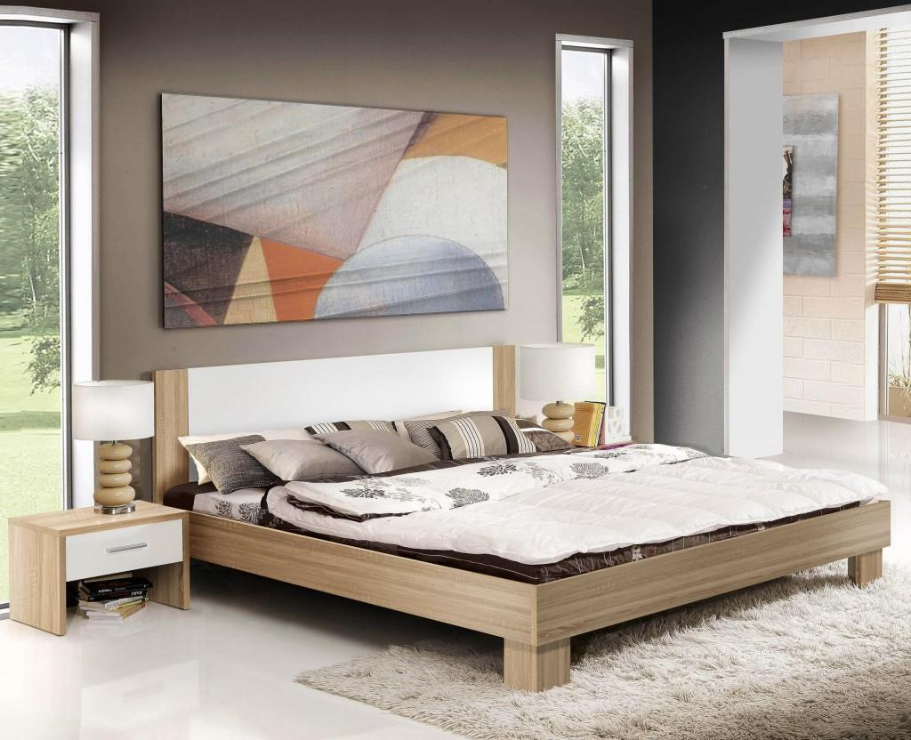 bett mandy 180 x 200 cm inkl 2 nachtk stchen sonoma eiche weiss ebay. Black Bedroom Furniture Sets. Home Design Ideas