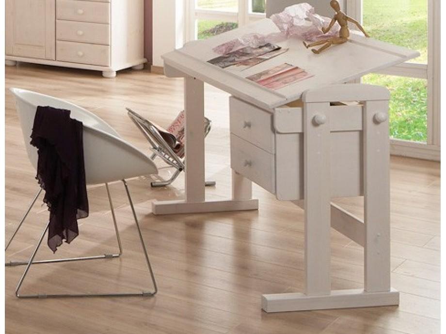 schreibtisch kinderschreibtisch moby kiefer massiv weiss. Black Bedroom Furniture Sets. Home Design Ideas