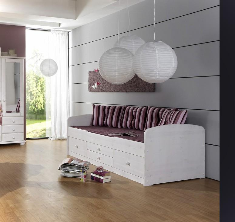 bett kinderbett captain 90x200 kiefer massivholz weiss von dolphin. Black Bedroom Furniture Sets. Home Design Ideas