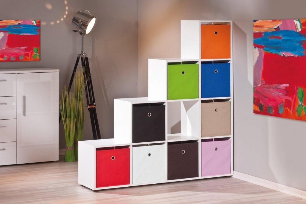 regal raumteiler caboto offenes stufenregal mit 10 f cher dekor wei. Black Bedroom Furniture Sets. Home Design Ideas