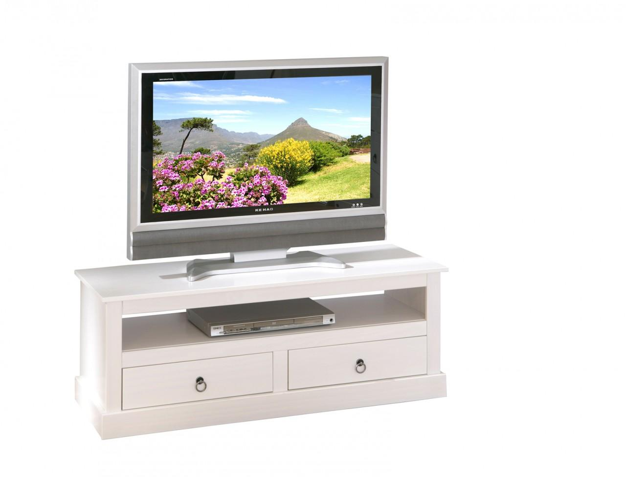 TV-Board PROVENCE Kommode mit 2 Schubladen Kiefer massiv weiß
