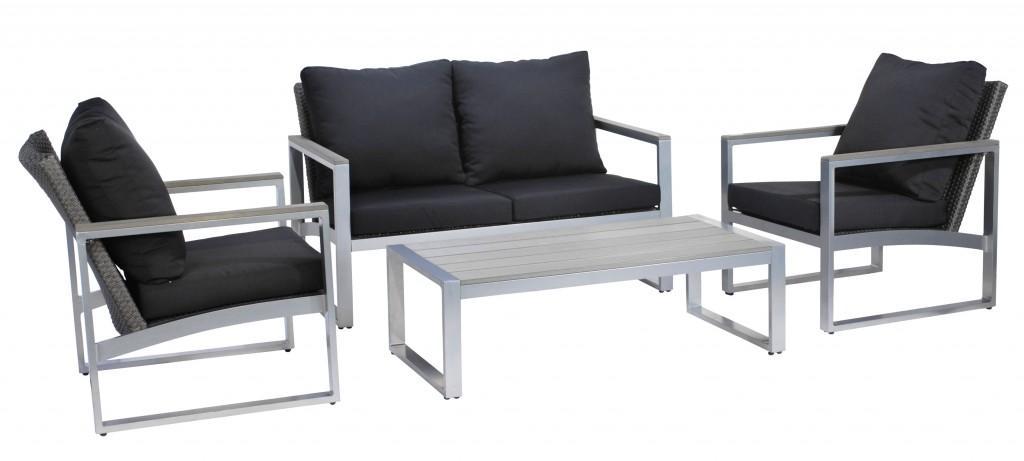 garten lounge set alu geflechtgruppe menton inkl kissen grau braun ebay. Black Bedroom Furniture Sets. Home Design Ideas