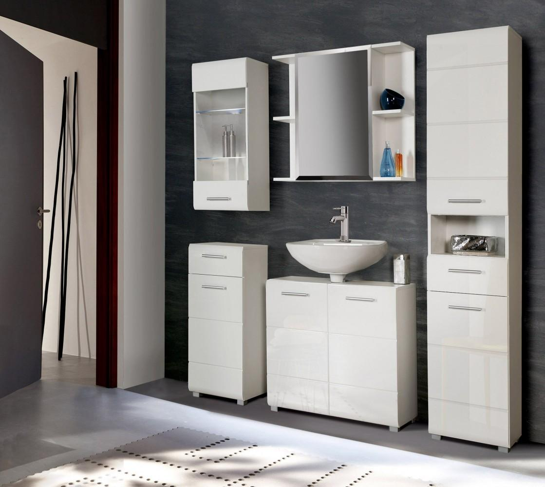 Badezimmer Komplett-Set AVEO 5-tlg., Front weiß Hochglanz, von Forte