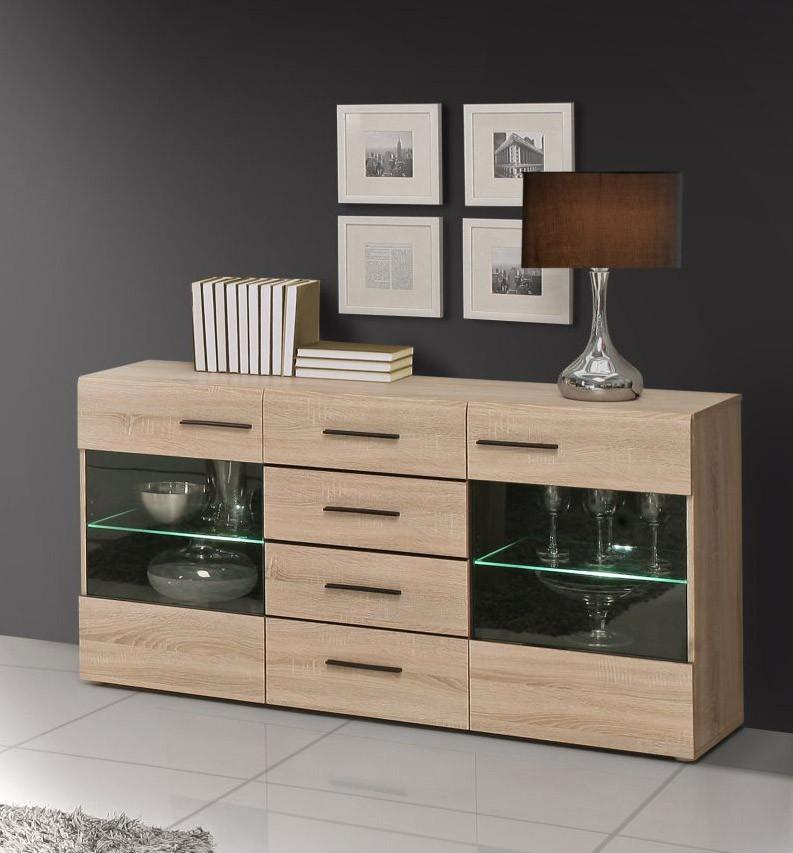 sideboard combino 2 t ren verglast 4 schubl sonoma eiche von forte. Black Bedroom Furniture Sets. Home Design Ideas