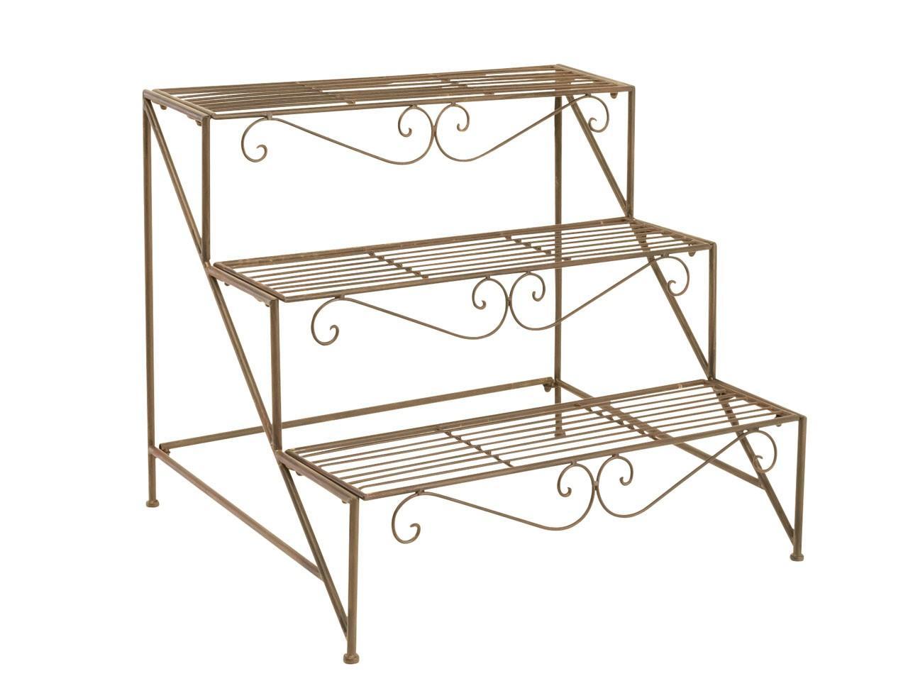 blumentreppe quassa mit 3 stufen metallstellage dunkel. Black Bedroom Furniture Sets. Home Design Ideas