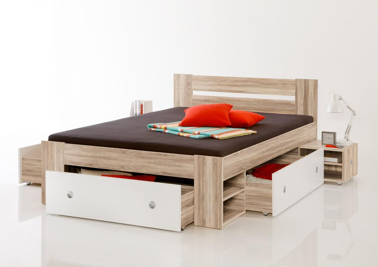 funktionsbett jugendbett stefan 140 x 200 cm in sonoma eiche dekor ebay. Black Bedroom Furniture Sets. Home Design Ideas