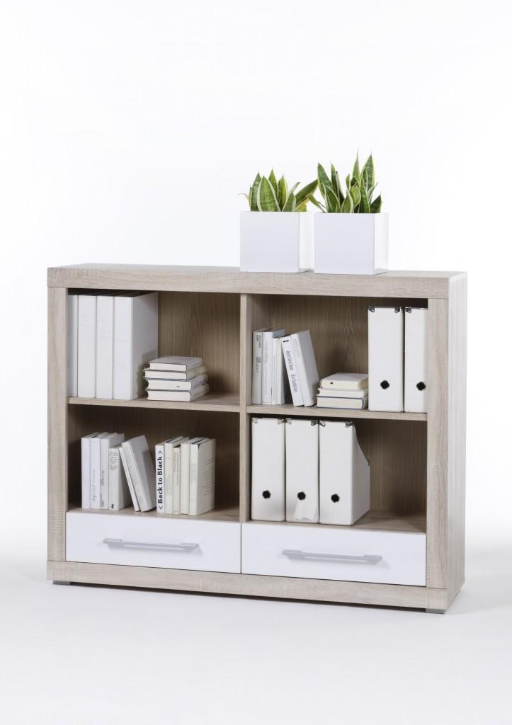 regal cube 4 b cherregal in sonoma eiche weiss mit 2. Black Bedroom Furniture Sets. Home Design Ideas