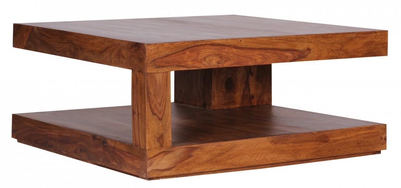sheesham couchtisch massiv 90 x 90 cm mit ablage massivholz b ware ebay. Black Bedroom Furniture Sets. Home Design Ideas