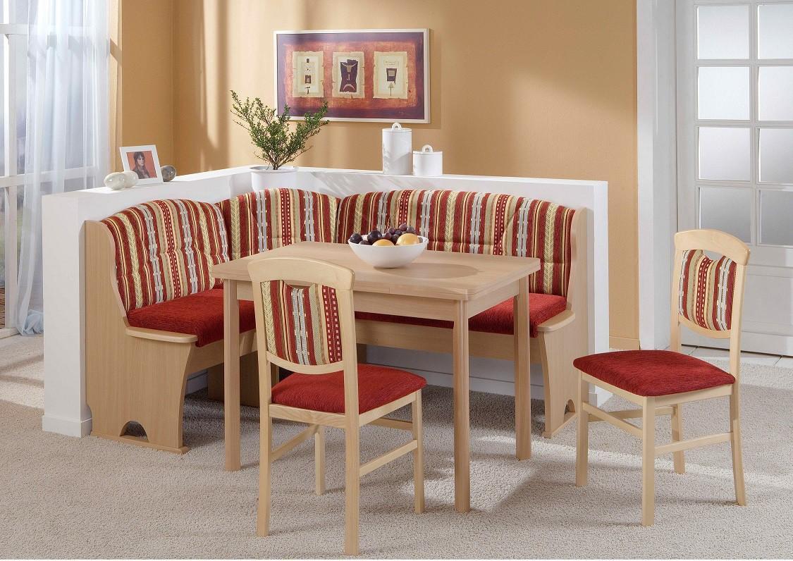 eckbank eckbankgruppe essgruppe kreta in buche dekor stoff rot. Black Bedroom Furniture Sets. Home Design Ideas