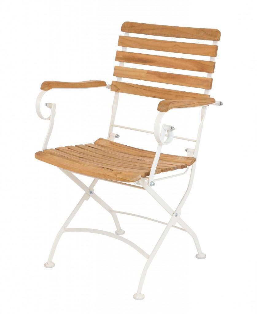 gartenstuhl klappstuhl flex mit armlehnen metall und fsc teak ebay. Black Bedroom Furniture Sets. Home Design Ideas