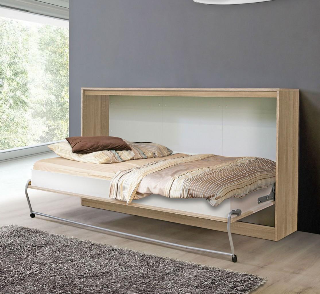 klappbett timo 90 x 200 platzsparendendes raumsparbett in sonoma eiche ebay. Black Bedroom Furniture Sets. Home Design Ideas