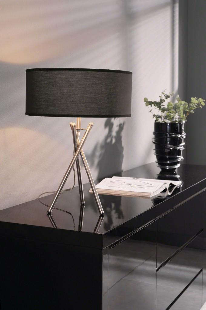 tripod desinger xl lampe tischleuchte schirm schwarz f e edelstahl ebay. Black Bedroom Furniture Sets. Home Design Ideas