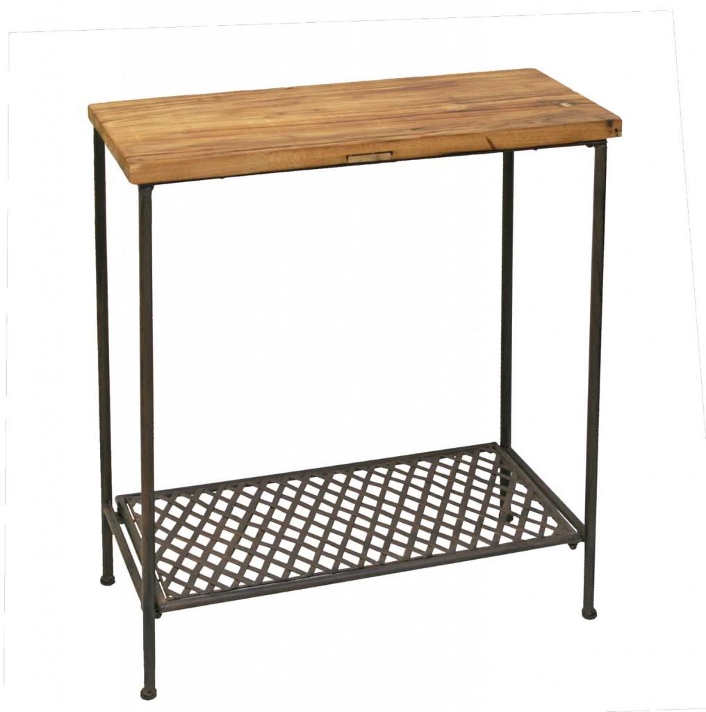 Tisch Eisentisch Wandtisch ORNETA Platte massive Ulme antikbraun Look