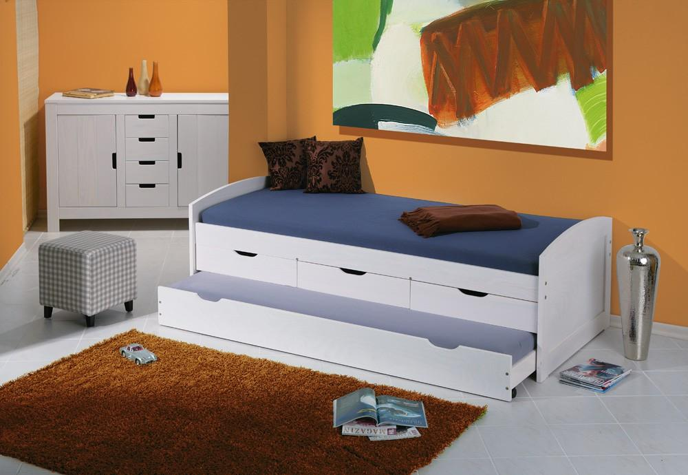 kinderbett ulli 90 x 200 cm kiefer massivholz wei lackiert vorschau. Black Bedroom Furniture Sets. Home Design Ideas
