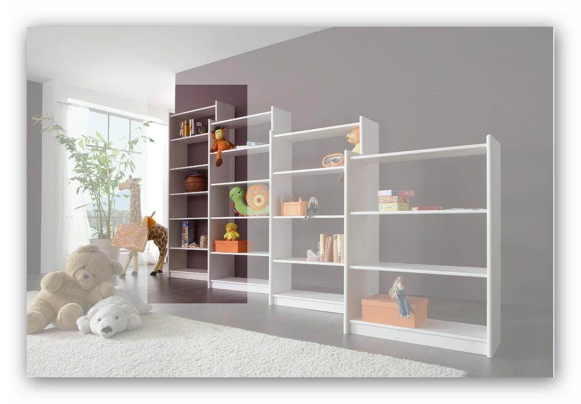 Regal Bücherregal Moby 200 x 80 Kiefer massiv weiß lackiert, Dolphin