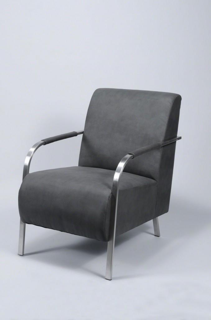 Loungechair Armlehnstuhl Sessel Fauteuil Dunkelgrau Armlehne Edelstahl