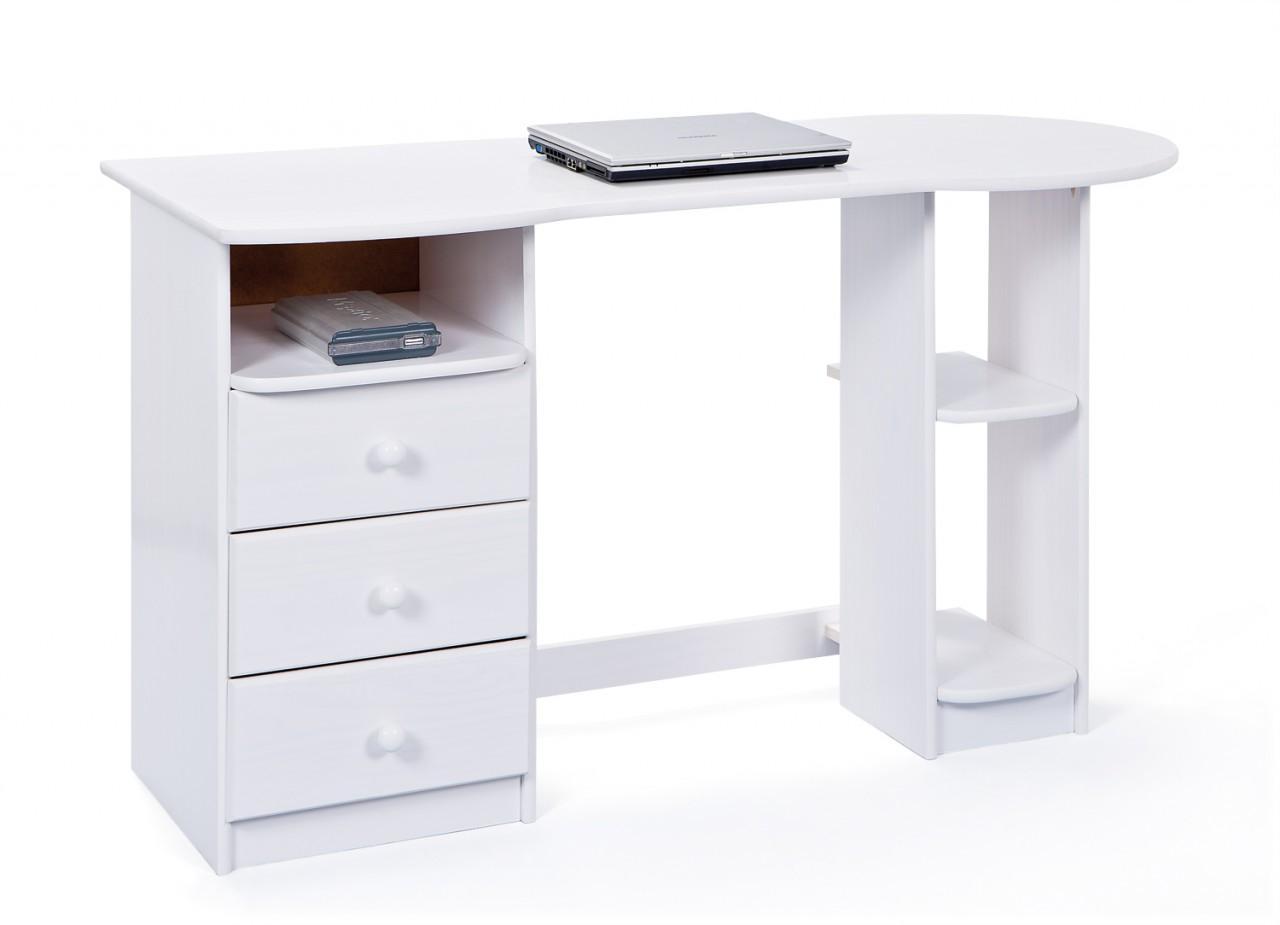 Schreibtisch TOUCHROUND Kiefer Weiß lackiert