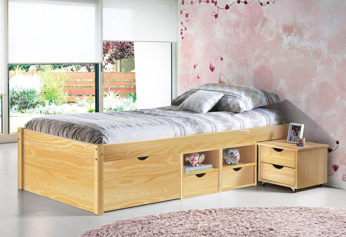 jugendbett claas 90 x 200 kiefer massiv natur lackiert. Black Bedroom Furniture Sets. Home Design Ideas
