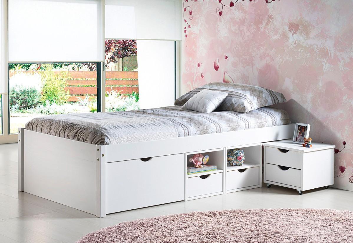 massivholzbett jugendbett till 90 x 200 kiefer wei lackiert. Black Bedroom Furniture Sets. Home Design Ideas