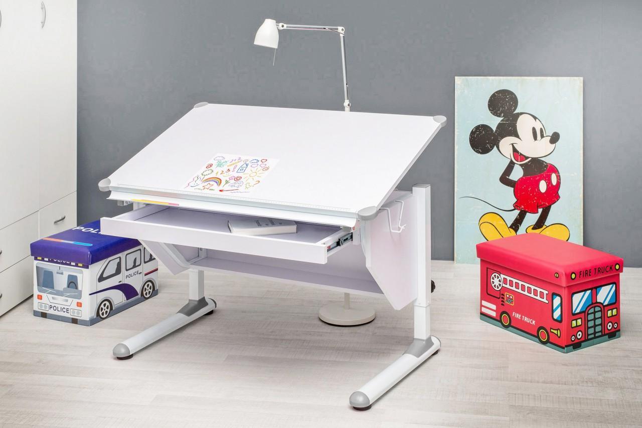 kinderschreibtisch vario wei verstellbar mit schublade. Black Bedroom Furniture Sets. Home Design Ideas