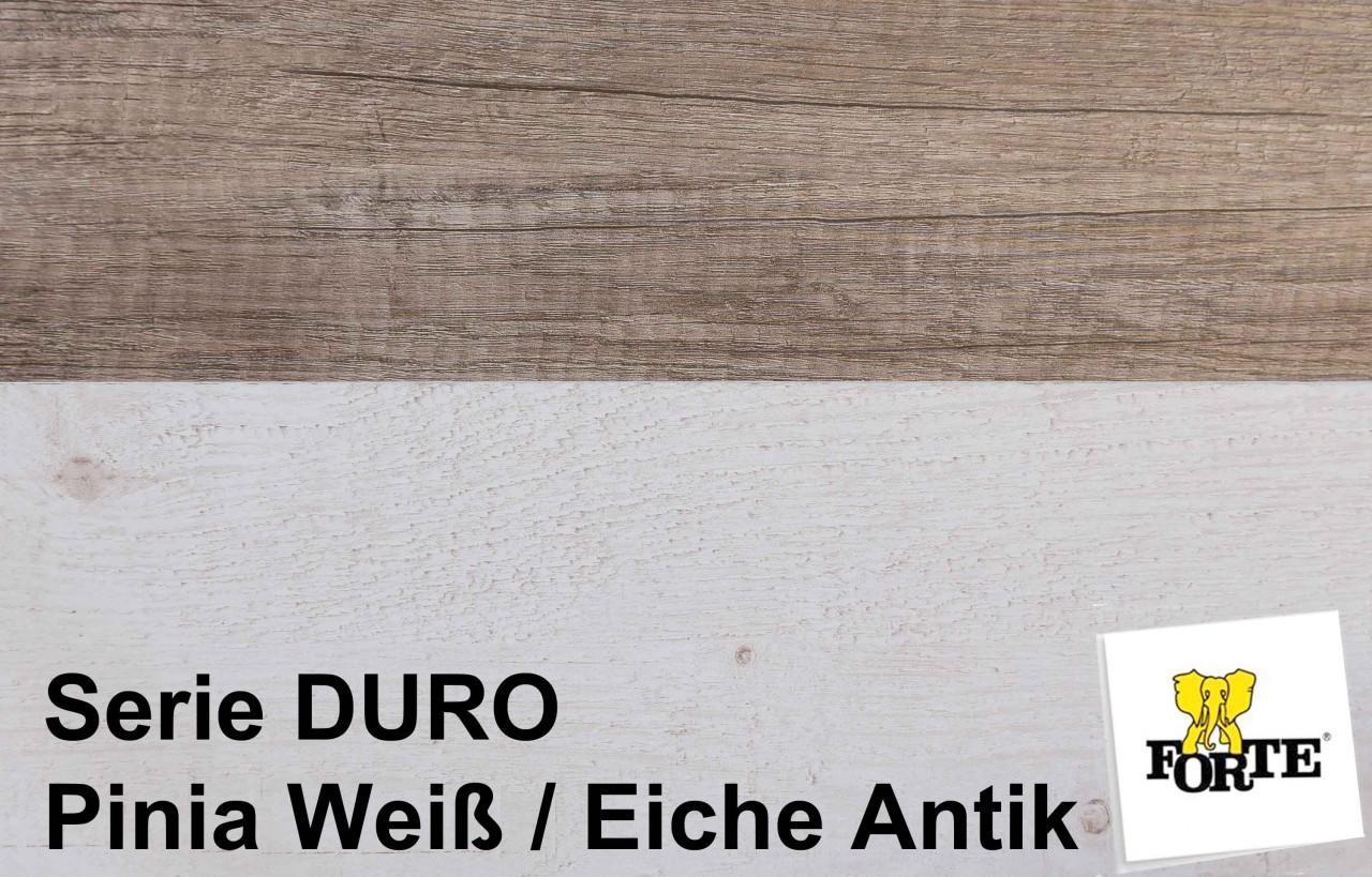 ... Ausziehtisch DURO 160 - 200 cm Dekor Pinie weiß / Eiche antik
