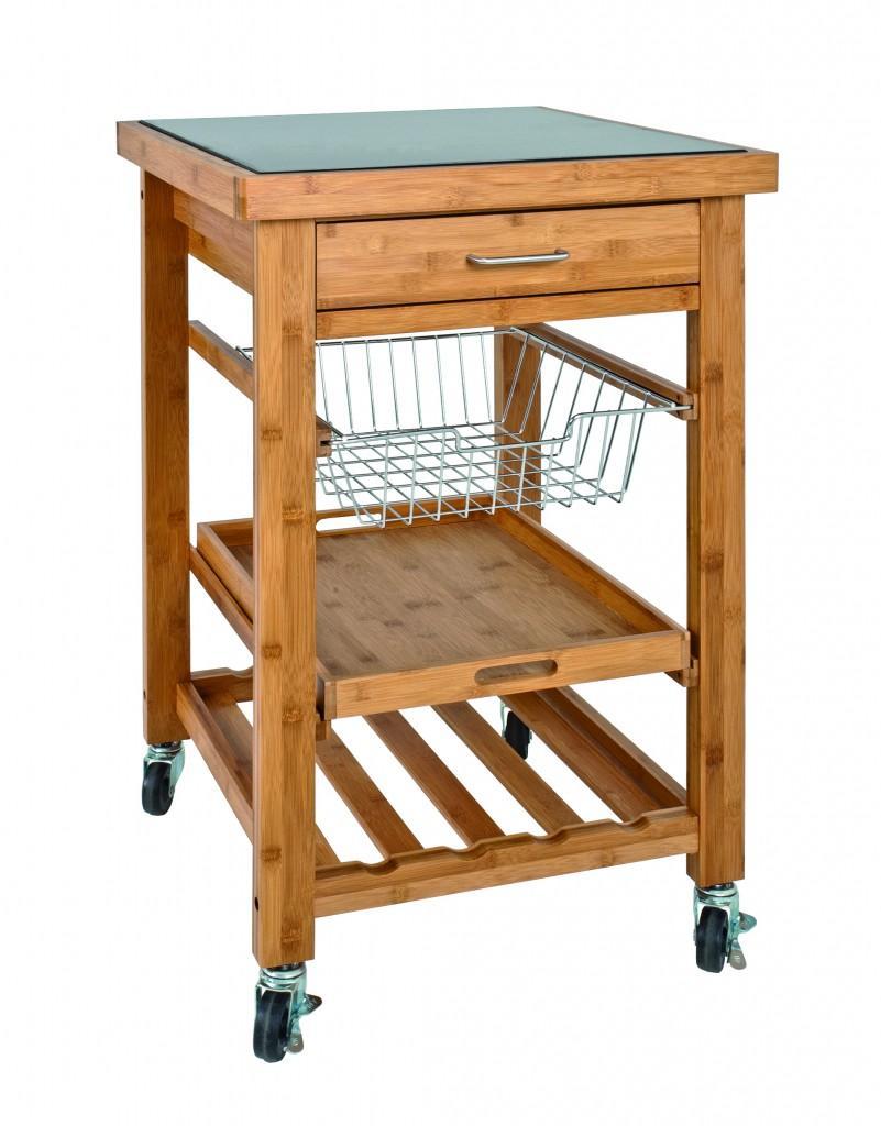 k chenwagen servierwagen fahrbar bambus mit granitplatte ebay. Black Bedroom Furniture Sets. Home Design Ideas