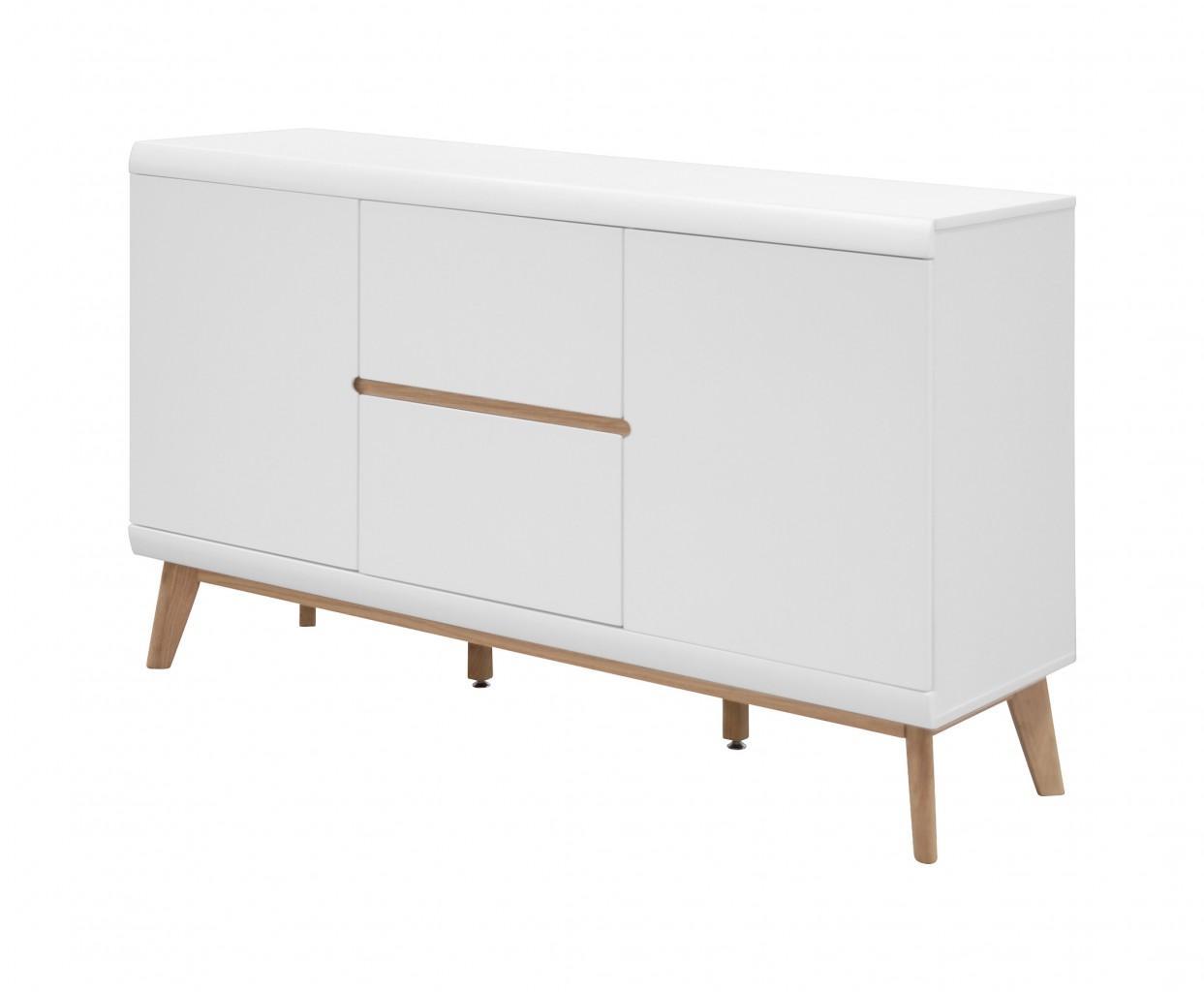 anrichte jazz sideboard mit 2 t ren skandi design matt wei lackiert. Black Bedroom Furniture Sets. Home Design Ideas
