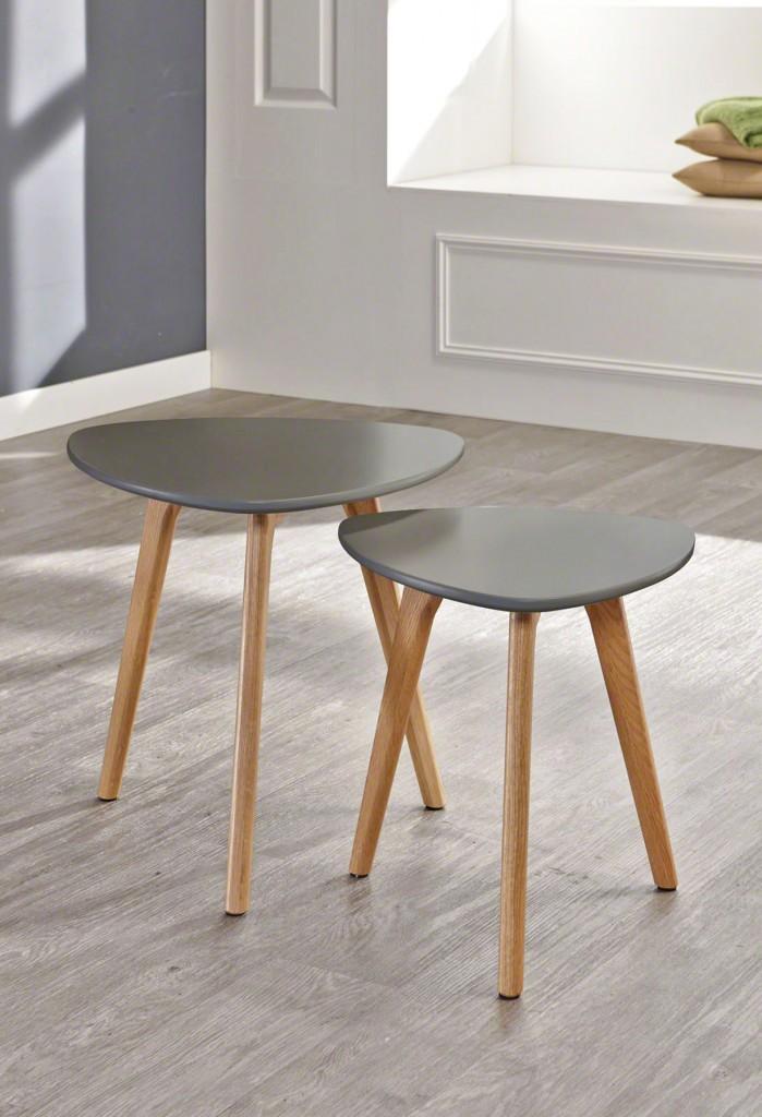 Beistelltisch mit 3 Tischbeinen 2 Größen Tischplatte Grau lackiert