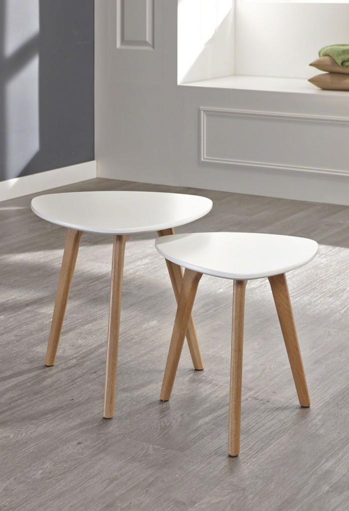 Beistelltisch mit 3 Tischbeinen 2 Größen Tischplatte Weiß lackiert