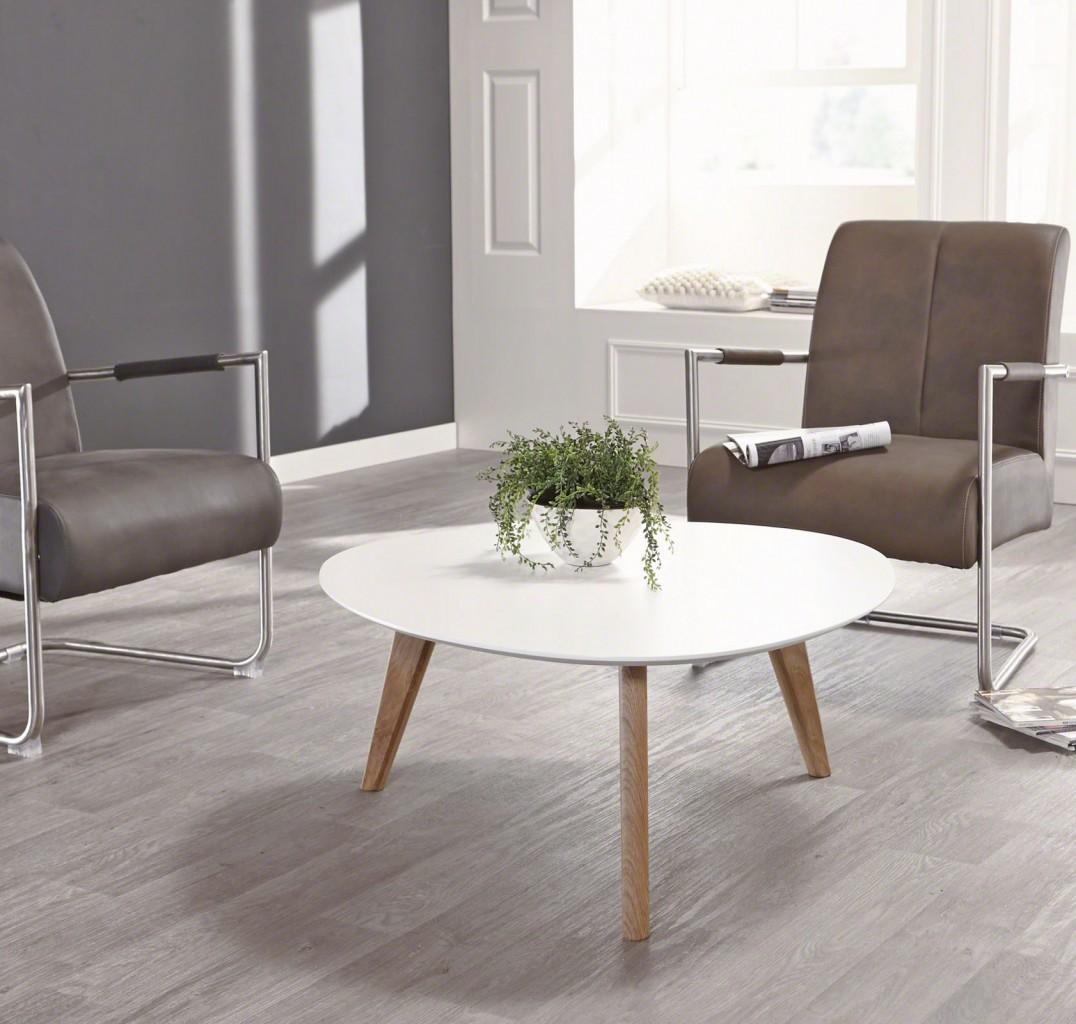 Wohnzimmertisch 3397 Design-Couchtisch Platte Weiß lackiert