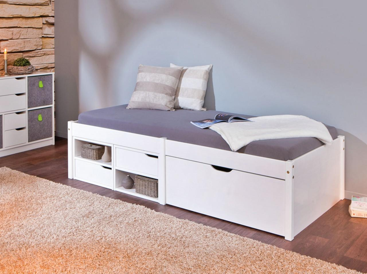 kinderbett farum 90 x 200 kiefer massiv wei lackiert mit schubladen. Black Bedroom Furniture Sets. Home Design Ideas