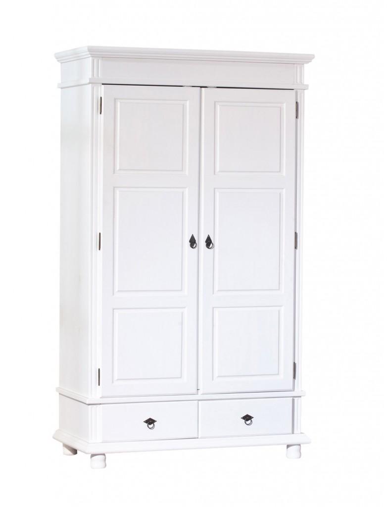 Kleiderschrank DANZ 2 Schrank mit 2 Türen Kiefer weiß lackiert
