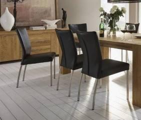 stuhl polsterstuhl f e edelstahl bezug echtes leder bonanza black. Black Bedroom Furniture Sets. Home Design Ideas