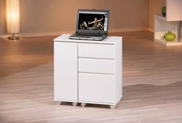 Laptop office schreibtisch wei 3 schubl den 1 t r rollbar for Schreibtisch rollbar