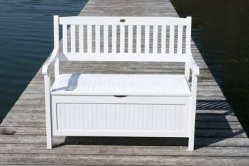 gartenbank mit truhe truhenbank 2 sitzig fsc eukalyptus wei. Black Bedroom Furniture Sets. Home Design Ideas