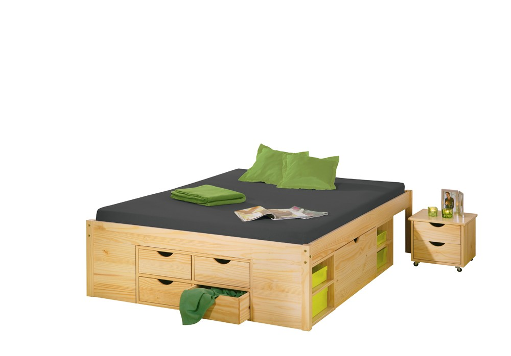 funktionsbett jugendbett claas 140 x 200 kiefer massiv natur lackiert. Black Bedroom Furniture Sets. Home Design Ideas