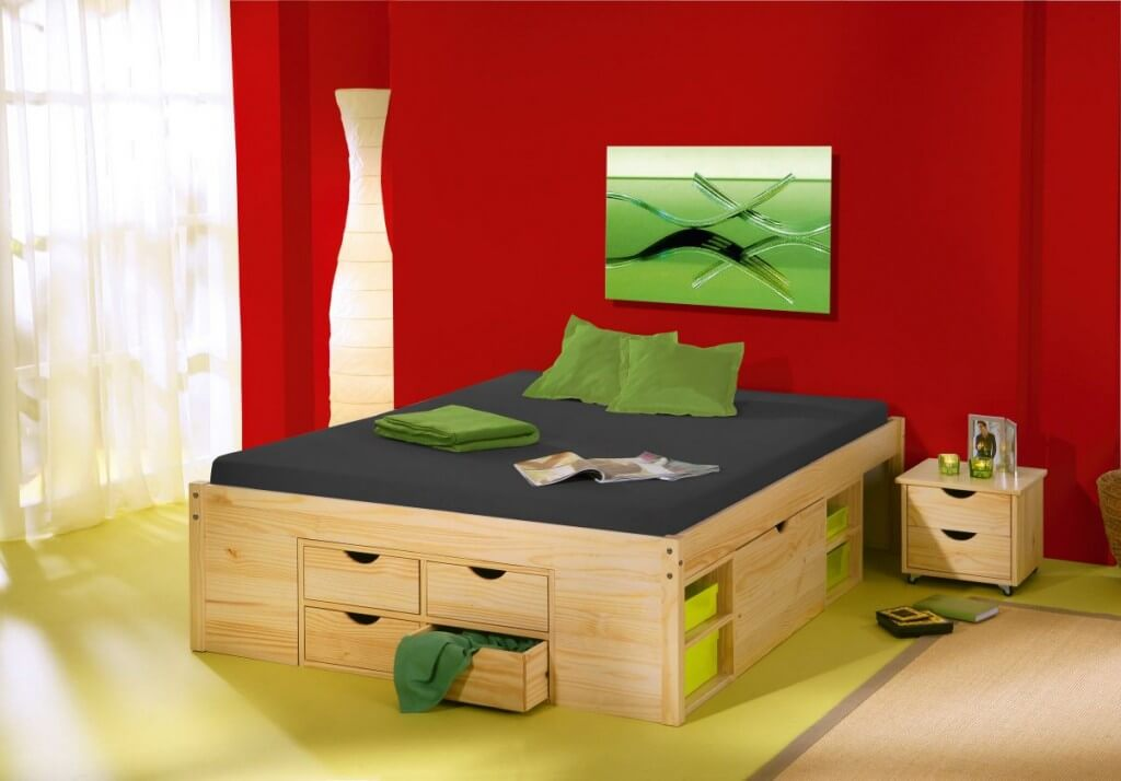Funktionsbett jugendbett claas 140 x 200 kiefer massiv natur lackiert - Lit 2 places rangement ...