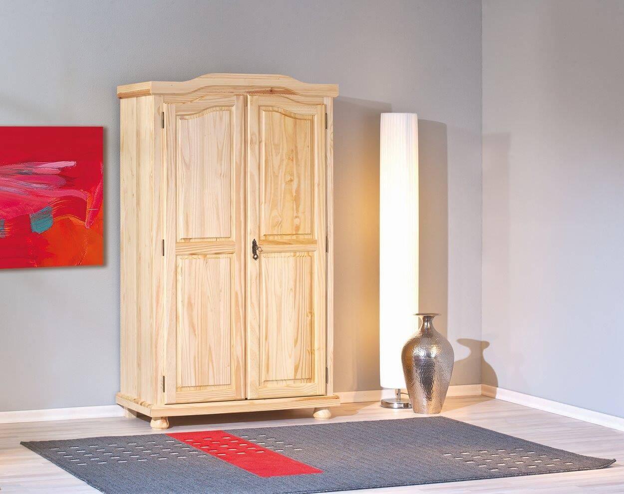 schrank kleiderschrank dielenschrank genf kiefer massivholz natur lackiert ebay. Black Bedroom Furniture Sets. Home Design Ideas