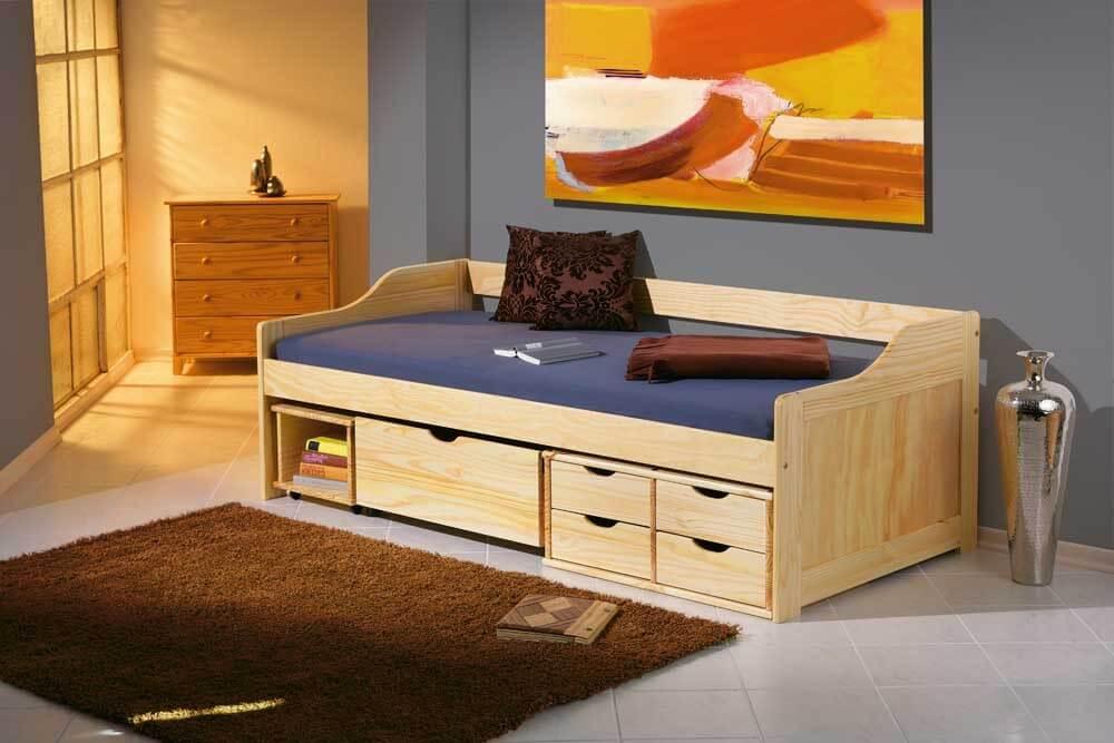 Kinderbett Maxima 90 x 200 Kiefer Massiv natur lackiert mit Schubladen