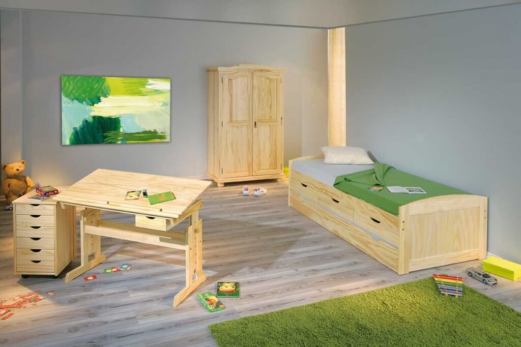 kinderbett marinella 90 x 200 kiefer massiv lackiert mit schubladen. Black Bedroom Furniture Sets. Home Design Ideas
