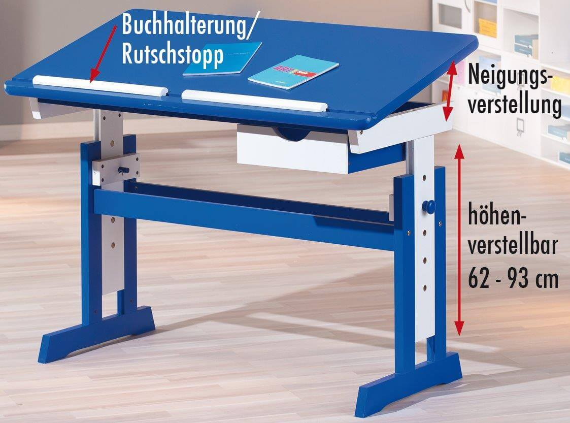 kinderschreibtisch paco in der farbe blau wei. Black Bedroom Furniture Sets. Home Design Ideas