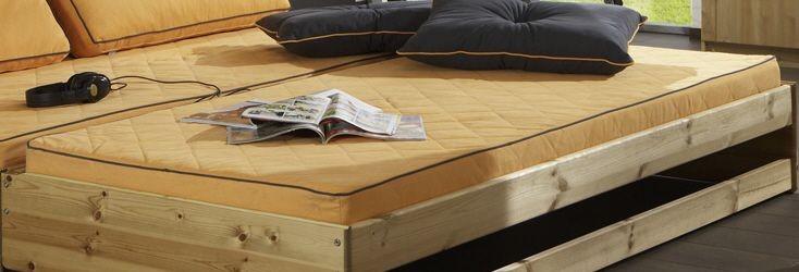 Matratze 90 x 200 mit Bezug in orange für Bett Flipper