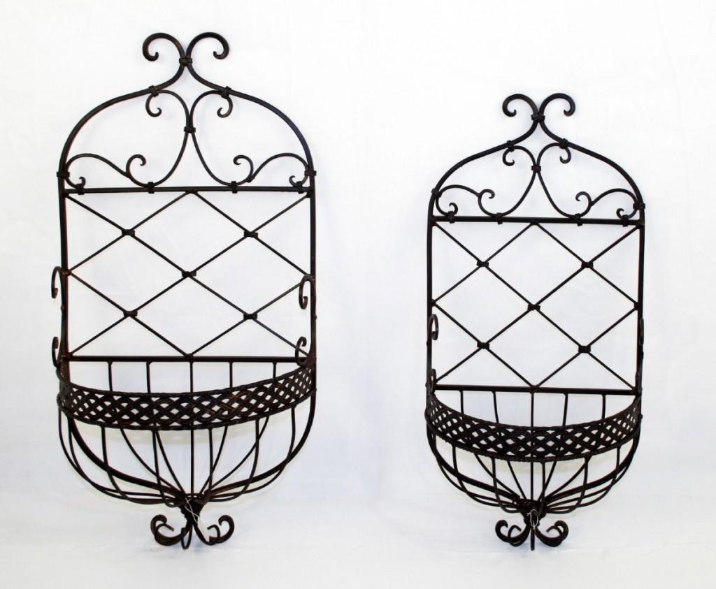wandkorb 2er set papero metall antik braun. Black Bedroom Furniture Sets. Home Design Ideas
